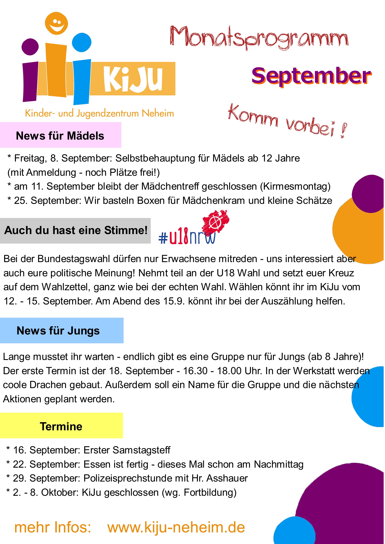 Flyer Monatsprogramm Septemberj